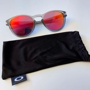 Oakley Latch Sunglasses-Matte Grey Ink/Ruby Iridiu